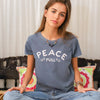 Peace Full-  Denim Blue 100% Cotton Tee