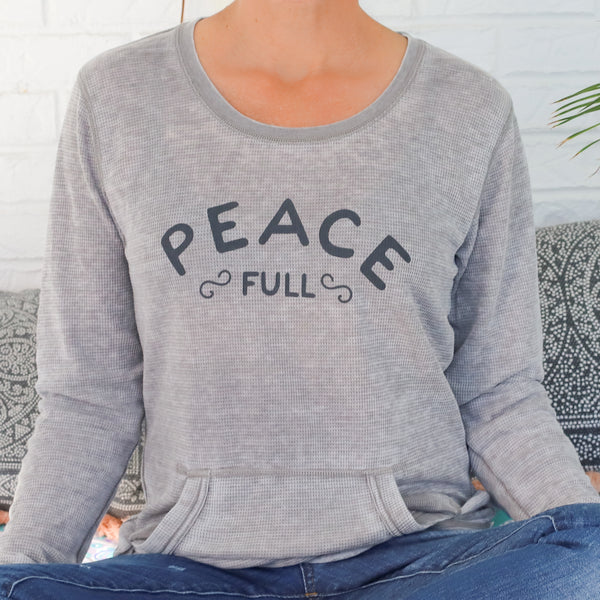 Peace Full - Soft Grey Burnout Thermal