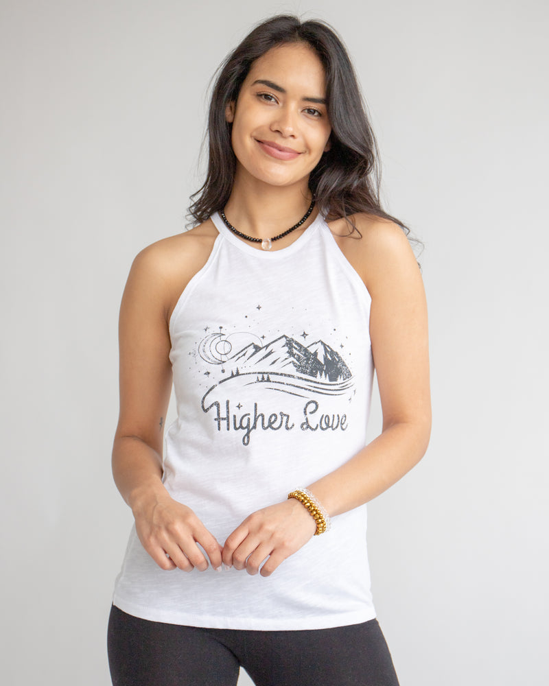 Higher Love  - White Slub Cotton Halter Tank