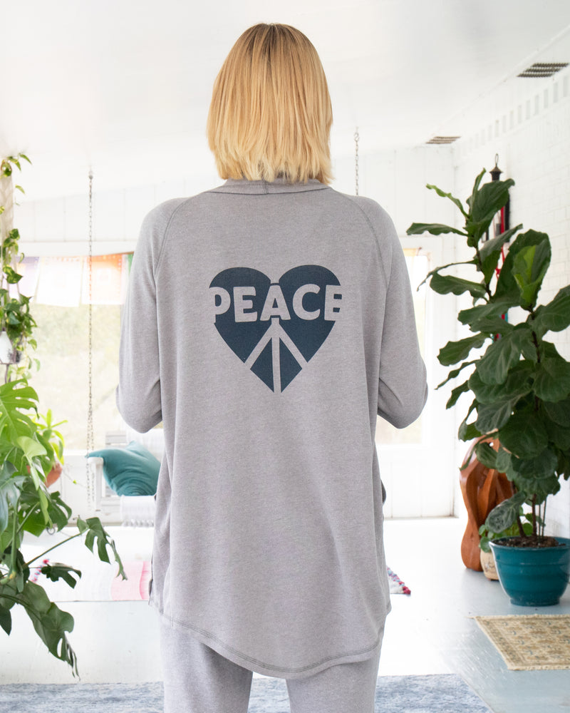 PEACE / HEART - Heather Dark Grey Wrap Cardigan