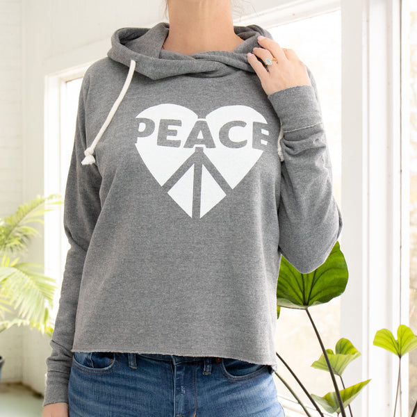 Peace / Heart - Heather Grey Pullover Hoodie