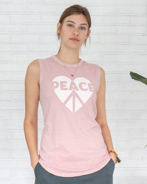 Peace / Heart  -  Rose Quartz 100% Cotton Muscle Tee