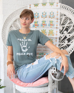 Peace In, Peace Out - Pine Cotton Unisex Tee