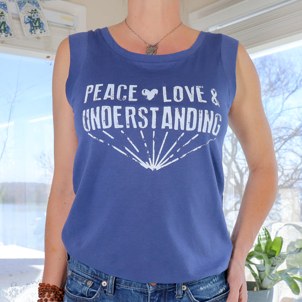 Peace, Love & Understanding - Royal Blue Cotton Muscle Tee