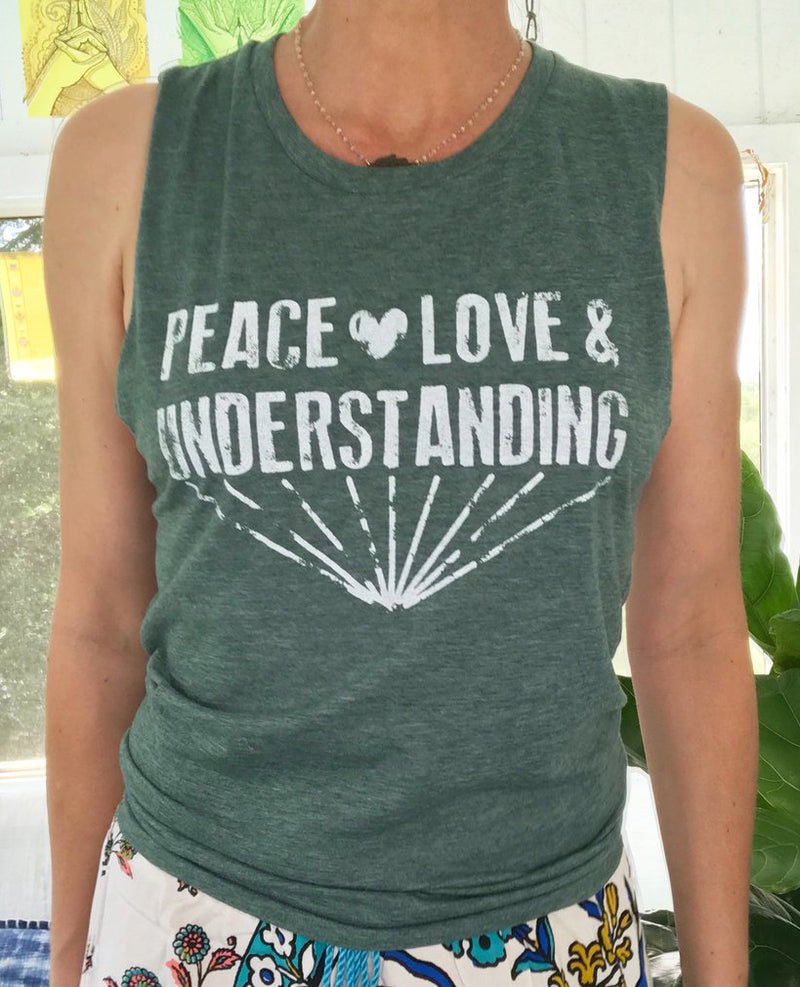 Peace, Love & Understanding - Heather Jade Muscle Tee