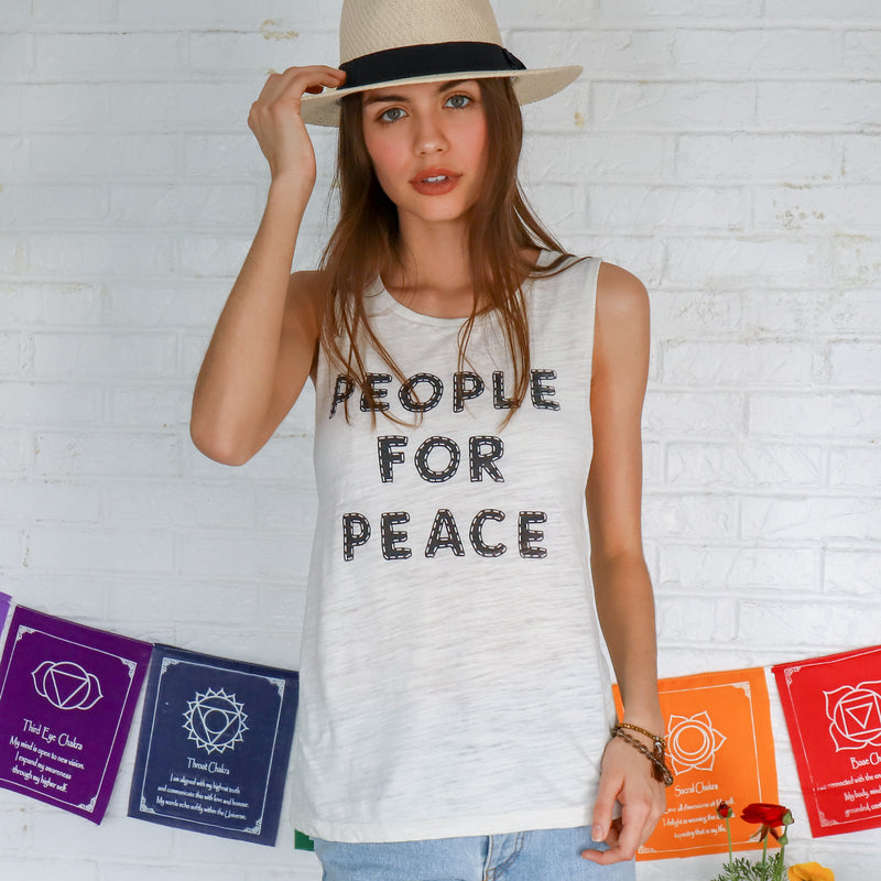 People For Peace - Ivory Burnout Muscle Tee