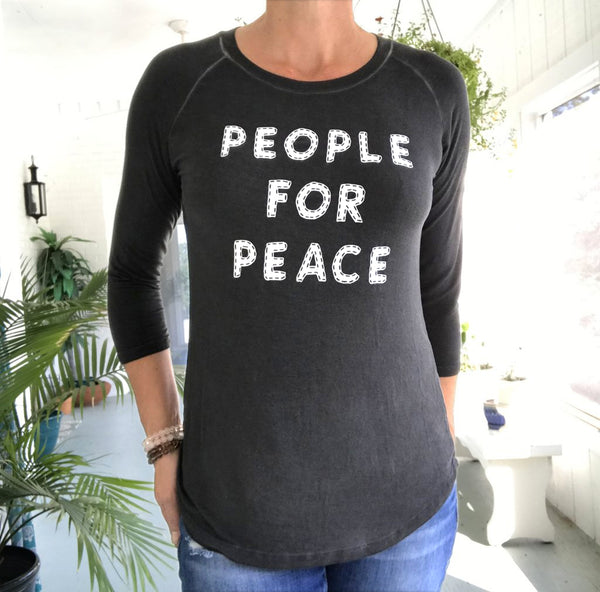 People For Peace-  Graphite 3/4 Sleeve Baseball Tee