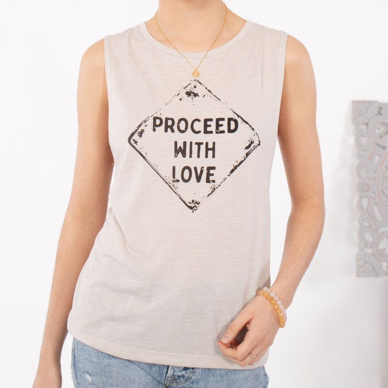 Proceed with LOVE - Heather Dust Muscle Tee