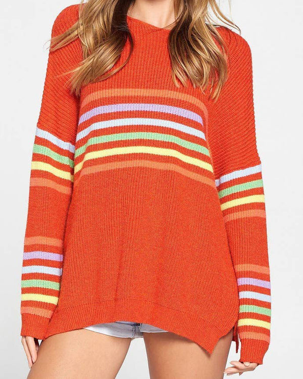 Rainbow Stripe Loose Sweater