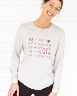 Re-Set  -  Pebble Cotton Unisex Long Sleeve Tee