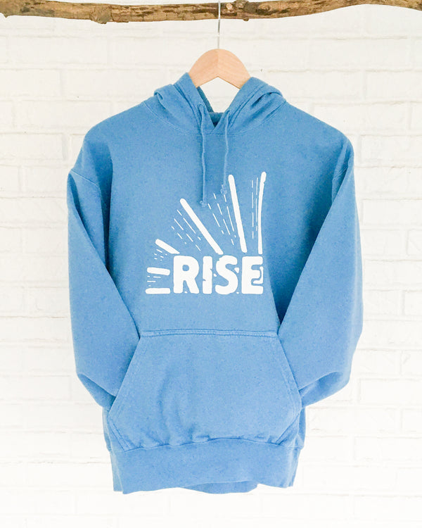 Rise - Sky Blue Garment Dyed Unisex Hoodie