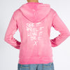 See It, Feel It, Love It, Be It.  - Pink Sand Washed Zip Hoodie