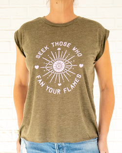 Seek Those Who Fan Your Flames - Olive Rolled Cuff Muscle Tee