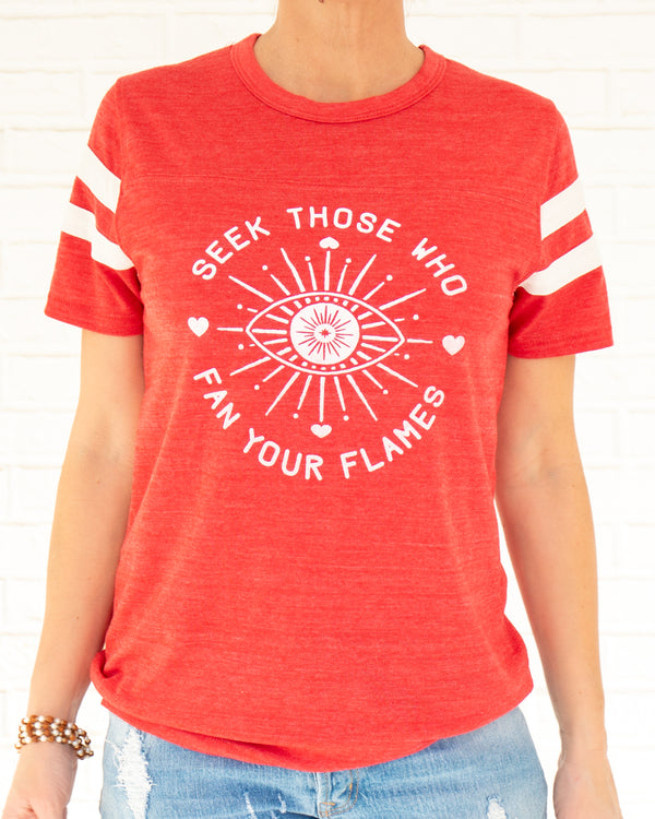 Seek Those Who Fan Your Flames ~  Heather Red Vintage Sport Tee