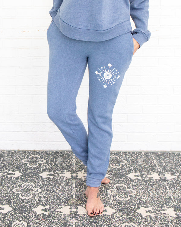Seeking Eye -  Blue Sandwashed Sweatpants