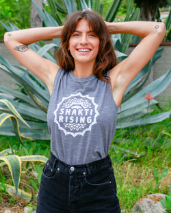Shakti Rising -  Elephant Grey Cotton Muscle Tee