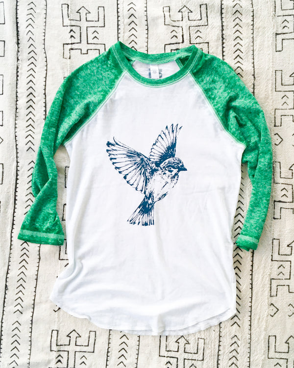 Free Bird -  Emerald and White Burnout Baseball Tee