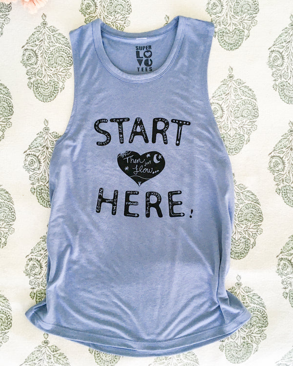 Start Here - Cornflower Blue Slinky Muscle Tee