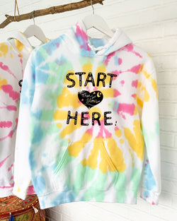 Start Here - White Rainbow Tie Dye Fleece Hoodie