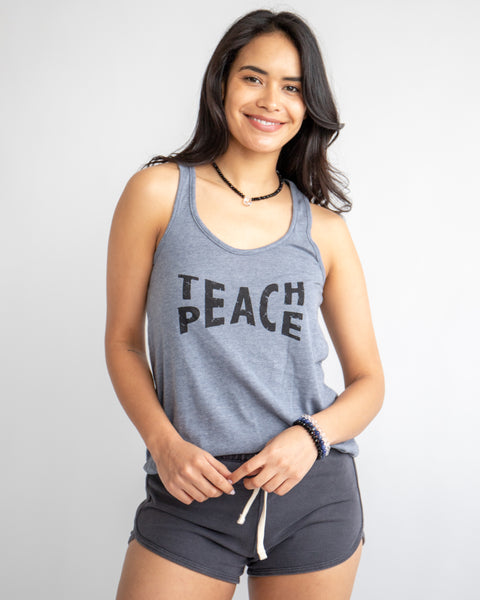 Teach Peace  - Navy Vintage Feel Tank
