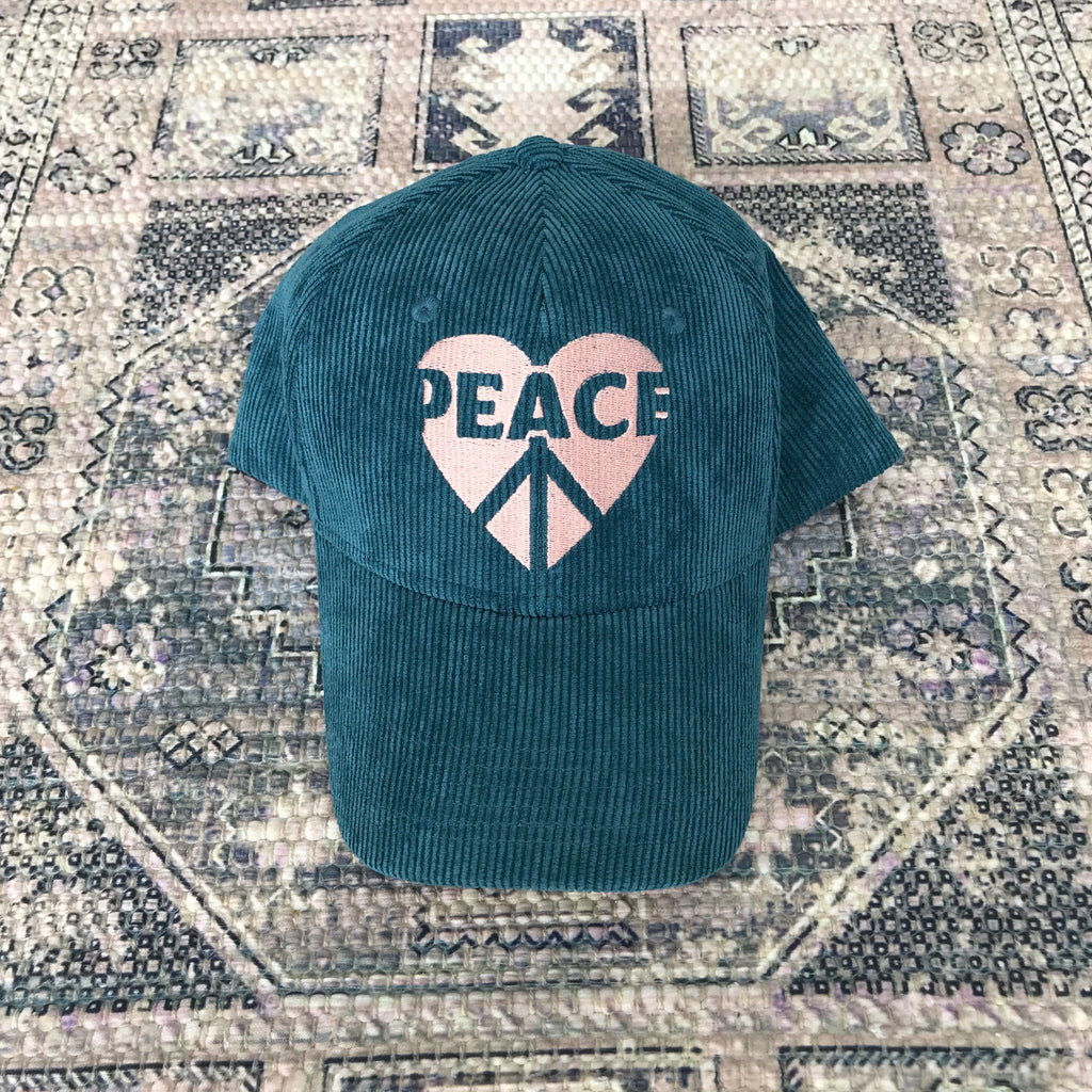 PEACE HEART - Teal Corduroy Baseball Cap