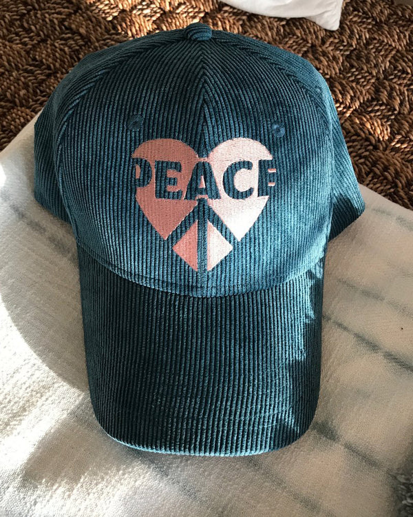 PEACE HEART - Teal Baseball Cap
