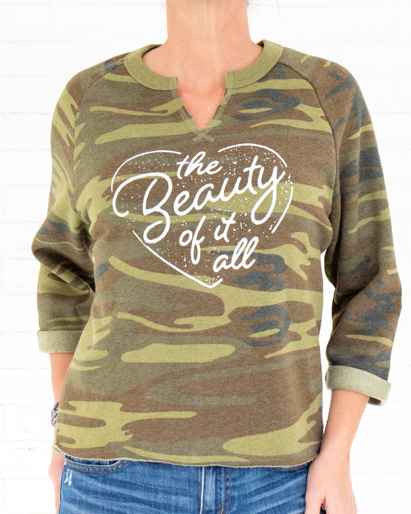 The Beauty of It All - Camo Raw Edge Sweatshirt
