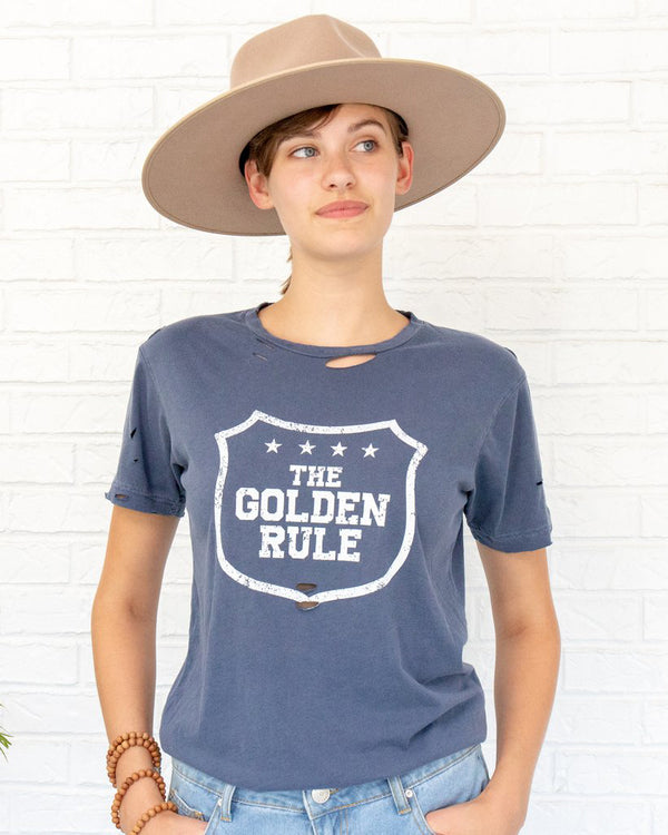 The Golden Rule - Lapis Blue Cotton Unisex Tee