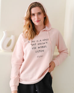There is a voice that doesn't use words - Pink Sunset Hoodie