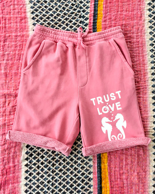 TRUST LOVE  -  PINK PIGMENT GYM SHORTS