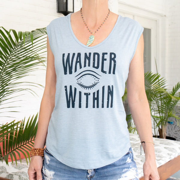 Wander Within - Heather Blue V-Neck Muscle Tee