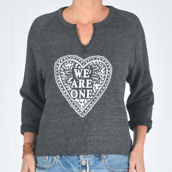 0f88796e1 We Are One - Heather Black Raw Edge Sweatshirt – SuperLoveTees | Graphic  Tees Inspired By Love