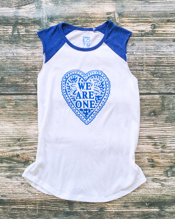 We Are One  -  Blue and White Muscle Tee