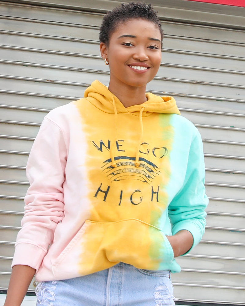 WE GO HIGH - RAINBOW TIE DYE Pullover Hoodie