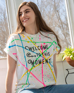 Welcome to this Moment - White Rainbow Splatter Cotton Tee