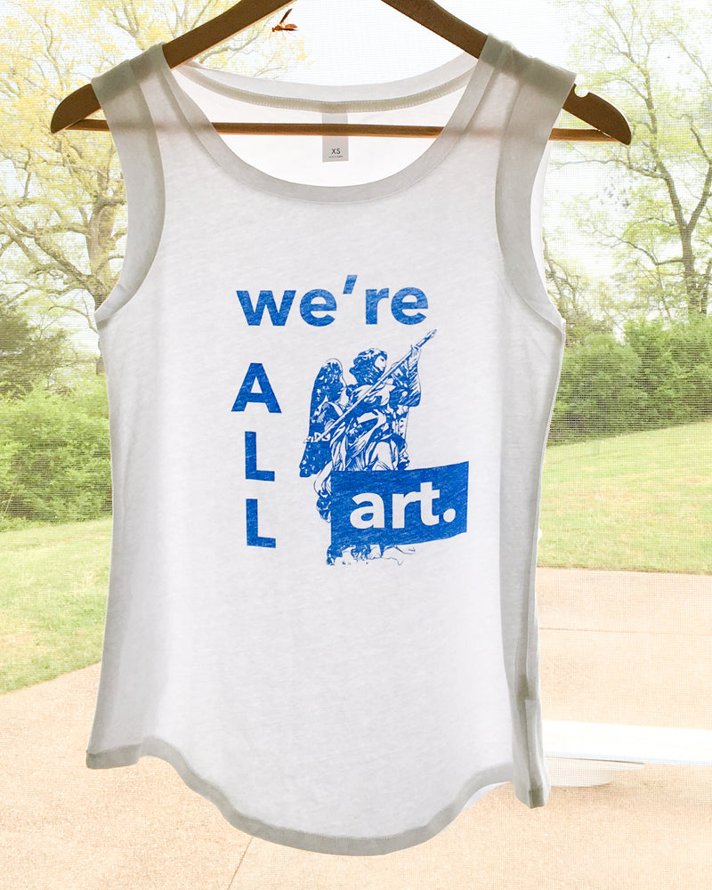 We're All Art - White Cotton Muscle Tee