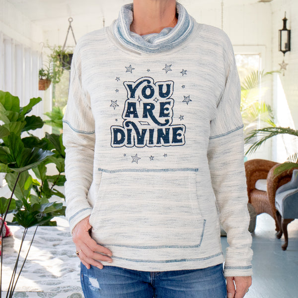 YOU ARE DIVINE  ~  Baja Style Cowl Neck Pullover