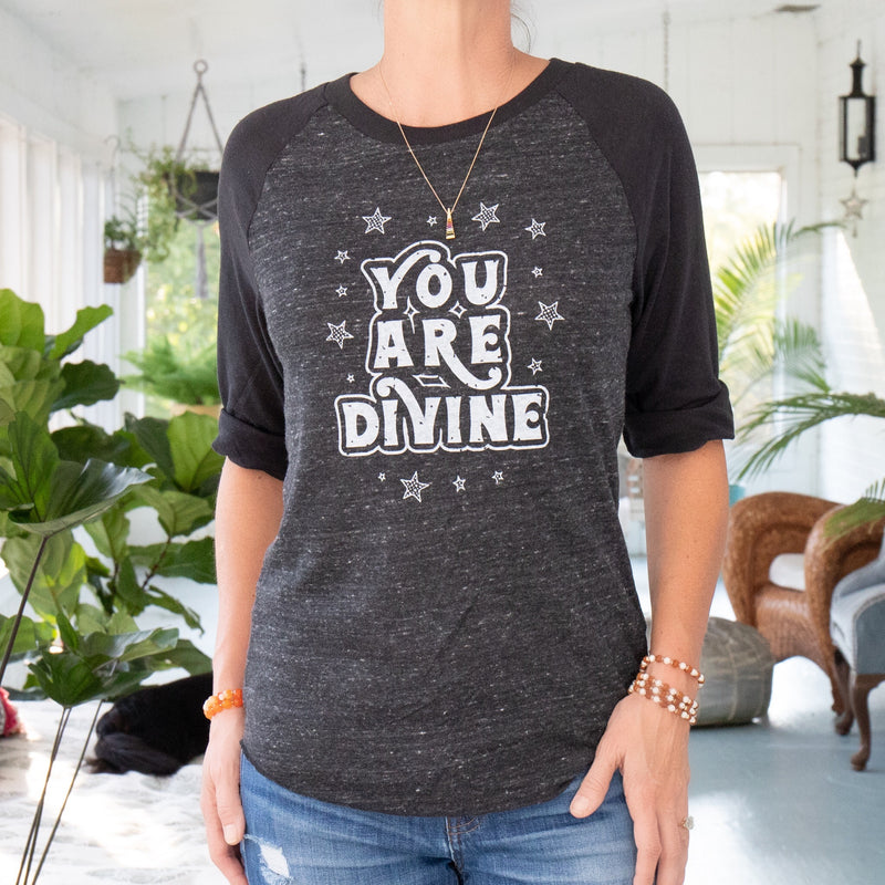 You Are Divine  -  Black Unisex Baseball Tee