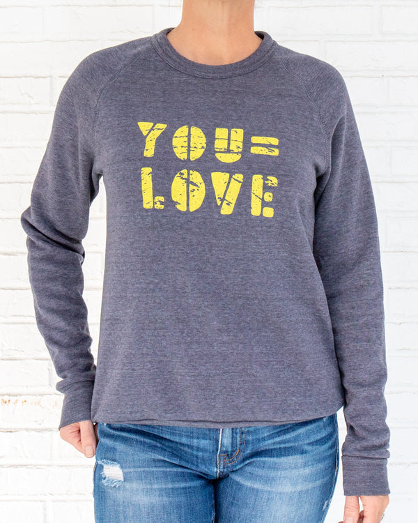 You = Love - Heather Navy Unisex Fleece Sweatshirt