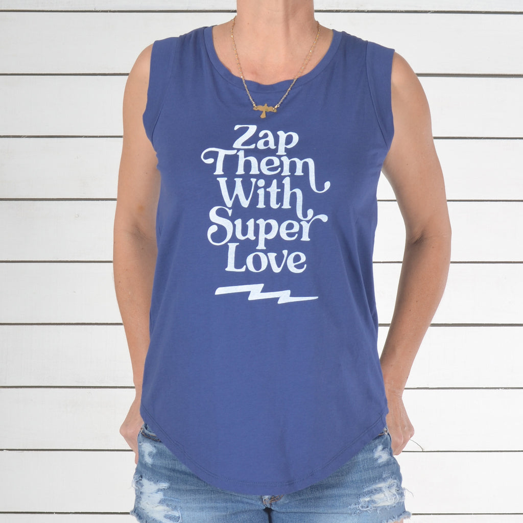Zap Them With Super Love - Royal Cotton Muscle Tee