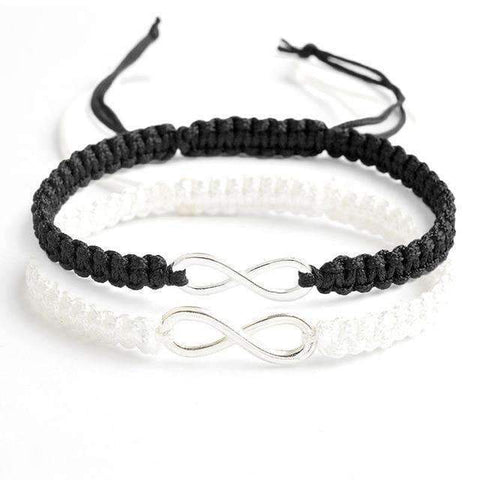 infinity bracelet set of two in black and white