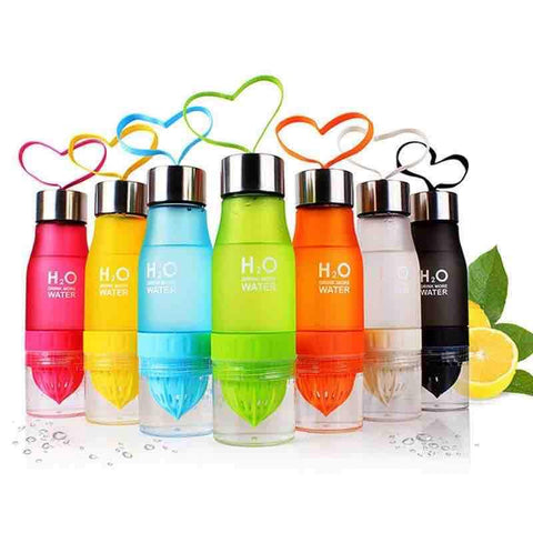 collection of reusable water bottles in pink, orange. blue, green, red, white and black