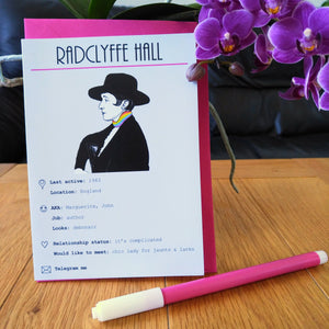 Swipe Right: Radclyffe Hall card