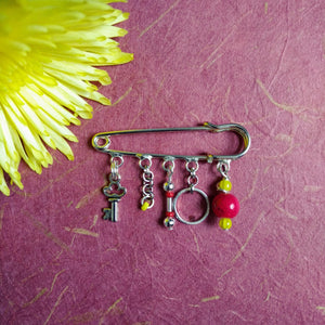 Liberty Cranberry-Key pin brooch