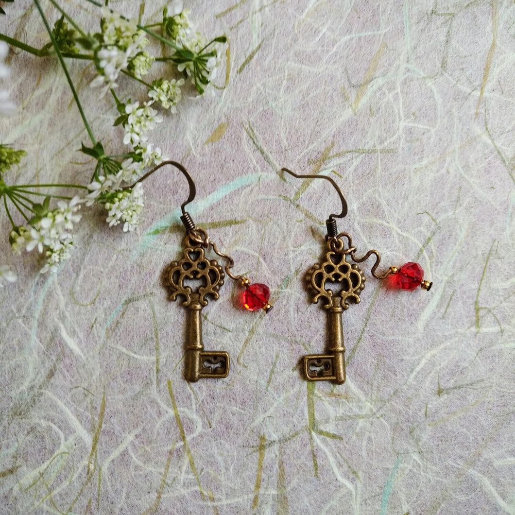 Liberty Scarlet-Key earrings