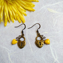 Load image into Gallery viewer, Liberty Yellow-Heart earrings