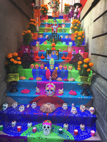 Mexico City dia de los muertos stairway decorations