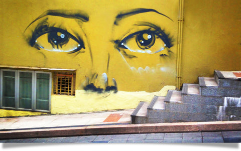 secret eyes Hong Kong street art image by Charla Jones