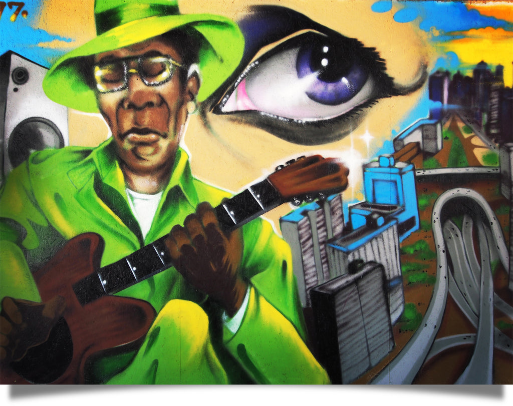 Sao Paulo street art Guitar man graffiti by Chris Daze Ellis