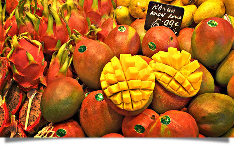 Colorful mangos give us mango seed butter for skin care